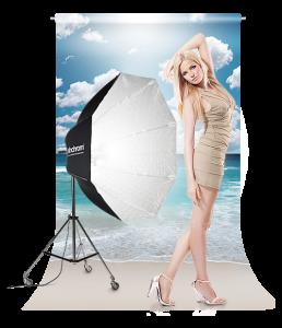 Modella con sfondo fotografico