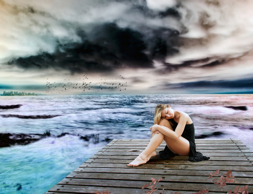 Glamour Girl in a dramatic landscape